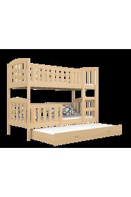 Cama litera con cama nido Jacob 3 madera maciza 160x80 cm