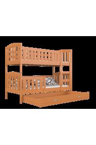 Cama litera de madera maciza Jacob 2 con cajón 200x90 cm