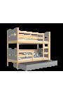 Cama litera de madera maciza 190x80 cm