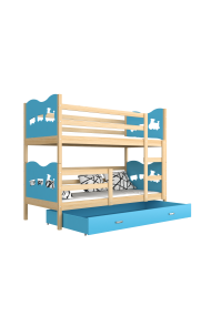 Cama litera de madera maciza 190x80 cm Trenecito Mariposas Corazones