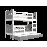 Cama litera con cama nido con cajón y colchones 180x80 cm