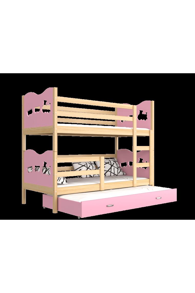 Cama litera con cama nido 190x80 cm trenecito mariposas corazones - Literas nido 3 camas ...