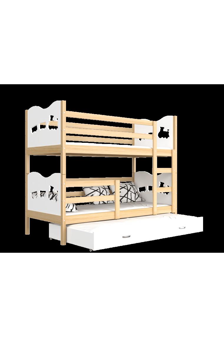 Cama litera con cama nido 190x80 cm trenecito mariposas corazones - Litera con cama nido ...