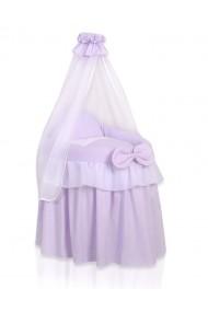 Cuna de mimbre para muñecas Little Princess violeta