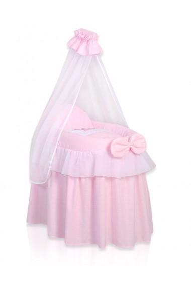 Cuna de mimbre para muñecas Little Princess rosada
