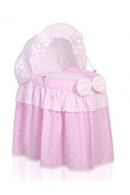 Cuna de mimbre para muñecas rosada