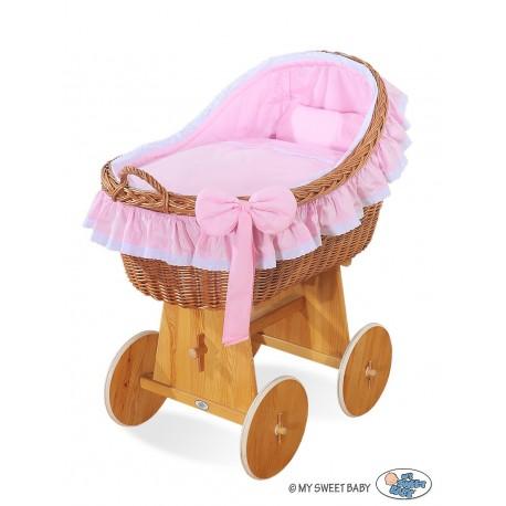 Cuna moisés de mimbre bebé Carine - Rosado