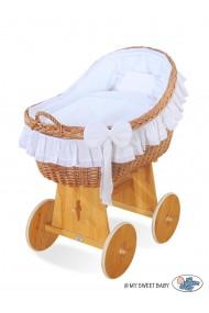 Cuna moisés de mimbre bebé Carine - Blanco
