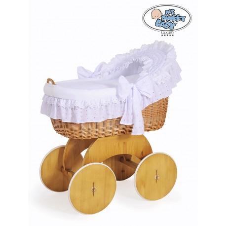 Cuna moisés de mimbre bebé Lily - Blanco