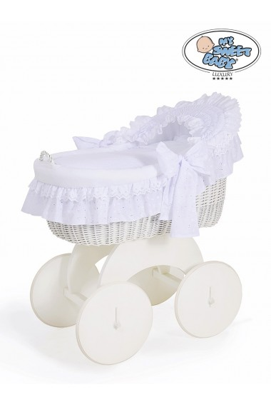 Cuna moisés de mimbre bebé Charlotte - Blanco