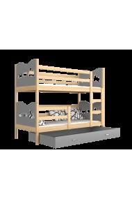 Cama litera de madera maciza 200x90 cm Trenecito Mariposas Corazones