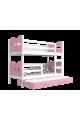 Cama litera con cama nido 200x90 cm Trenecito Mariposas Corazones