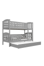Cama litera de madera maciza Jacob 3 190x80 cm