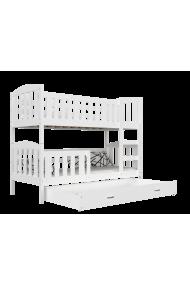 Cama litera de madera maciza Jacob 2 con cajón 190x80 cm