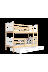 Cama litera de madera maciza 160x80 cm Trenecito Mariposas Corazones