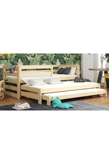 Cama nido de madera maciza para 3 Rico 180x80 cm