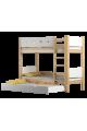 Cama litera de madera maciza Walter 3 160x80 cm