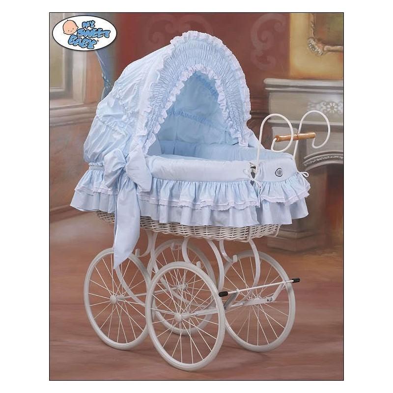 Cuna mois s beb de mimbre vintage retro azul blanco - Cuna de mimbre para bebe ...