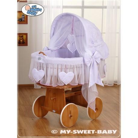 Cuna moisés bebé de mimbre Corazones - Violeta