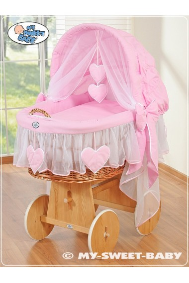 Cuna moisés bebé de mimbre Corazones - Rosa