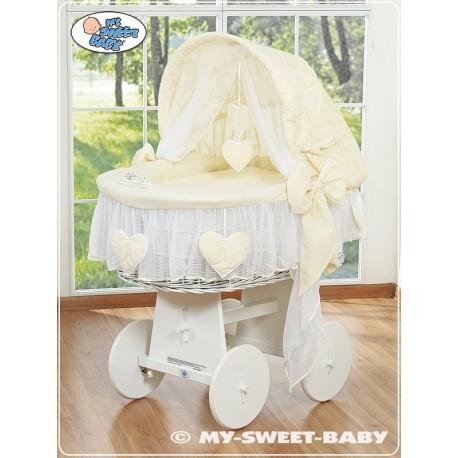 Cuna moisés bebé de mimbre Corazones - Crema-Blanco