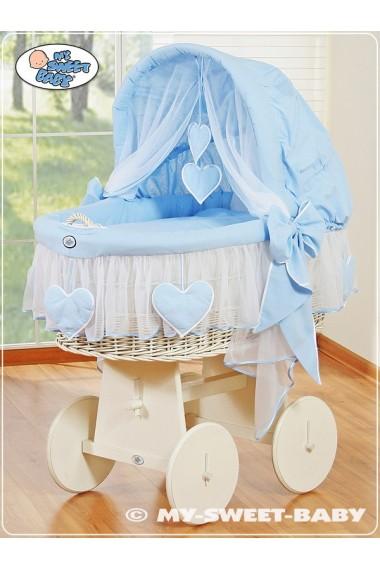 Cuna moisés bebé de mimbre Corazones - Azul-Blanco