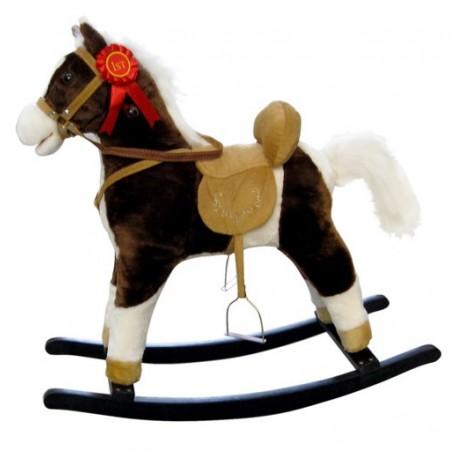 Caballo balancin Mustang marrón oscuro