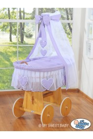 Minicuna de mimbre Corazones - Violeta