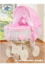 Cuna moisés bebé de mimbre Corazones - Rosa-Blanco