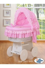 Cuna moisés de mimbre bebé Osito - Rosa-blanco