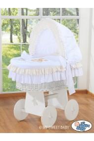 Cuna moisés de mimbre bebé Osito - Blanco