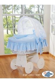 Cuna moisés de mimbre bebé Glamour - Azul-Blanco