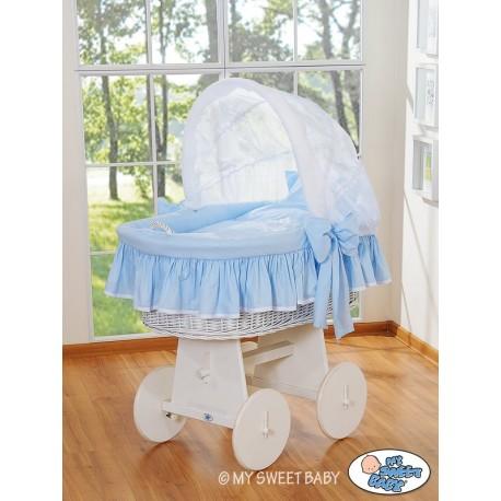 Minicuna de mimbre Glamour - Azul-Blanco