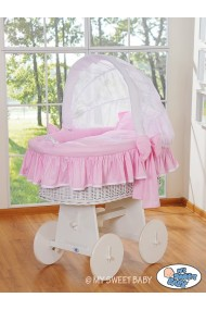 Cuna moisés de mimbre bebé Glamour - Rosa-Blanco