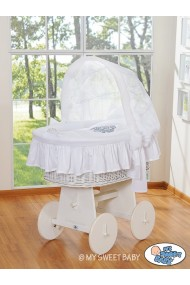 Cuna moisés de mimbre bebé Glamour - Blanco