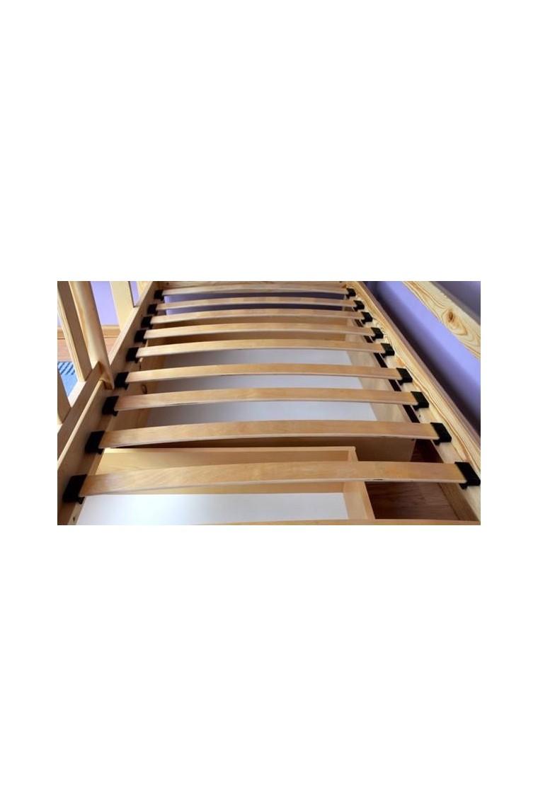 Cama litera de madera maciza jack con colchones 180x80 cm - Literas madera maciza ...