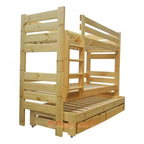Cama litera con cama nido Gustavo 3 con cajones y colchones 190x80 cm