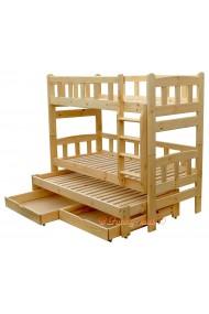 Cama litera con cama nido Nicolas 3 con cajones 200x80 cm