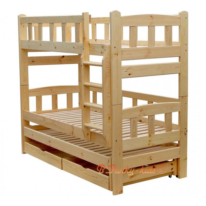 Cama litera con cama nido nicolas 3 con cajones 200x80 cm for Literas con cama nido ikea