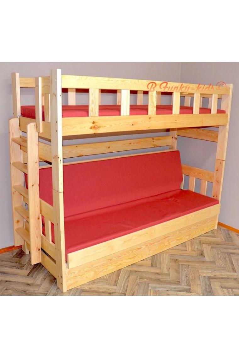 Cama litera de madera maciza fabio con colchones 180x80 y for Literas de madera para ninos