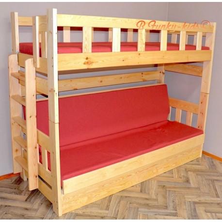 Cama litera de madera maciza Fabio con colchones 200x90 y 200x120 cm