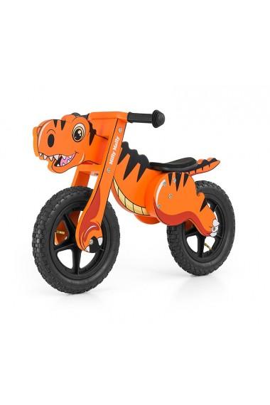 Dino naranja - bicicleta de madera sin pedales