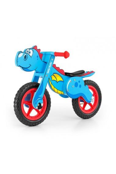 Dino azul - bicicleta de madera sin pedales