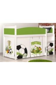 Cama semi alta Fútbol con colchón y cortinas