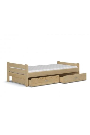 Cama de madera de pino macizo Bruno con cajón 200x90