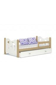Cama infantil de madera de pino macizo Luna con cajón 160x80 cm