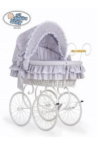 Cuna moisés bebé de mimbre Vintage Retro - Gris-Blanco