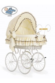 Cuna moisés bebé de mimbre Vintage Retro - Crema-Blanco