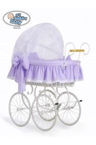 Cuna moisés bebé de mimbre Vintage Retro - Blanco-Lila