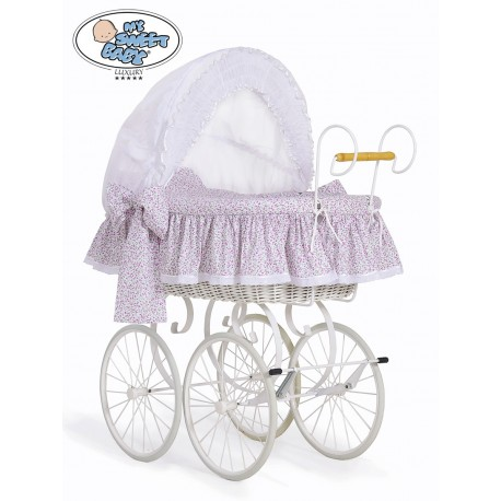 Cuna moisés bebé de mimbre Vintage Retro - Blanco-Rosa